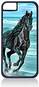 Black Horse Painting- Case for the Apple Iphone 6 Plus Only-Hard Black Plastic Outer Shell