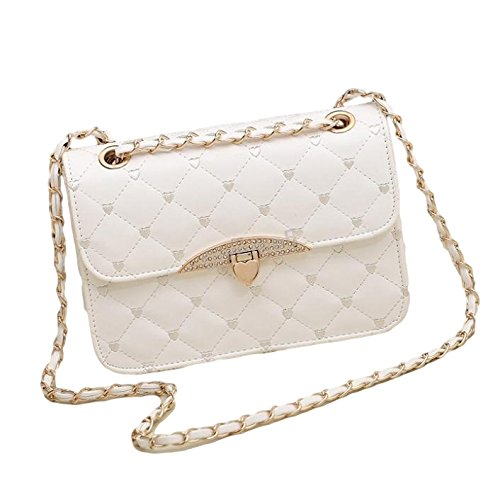 Gold Cross Quilted New Bag Body White Handbag Leather Vintage Faux Chain Evening tXFxFw