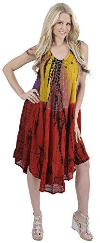 La Leela Multicolor Rayon Dress Tie Dye Embroidery Designer Casual Short Yellow
