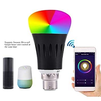 luoOnlineZ - Bombilla LED Inteligente E27/E14/B22 con Control WiFi, Cambia de