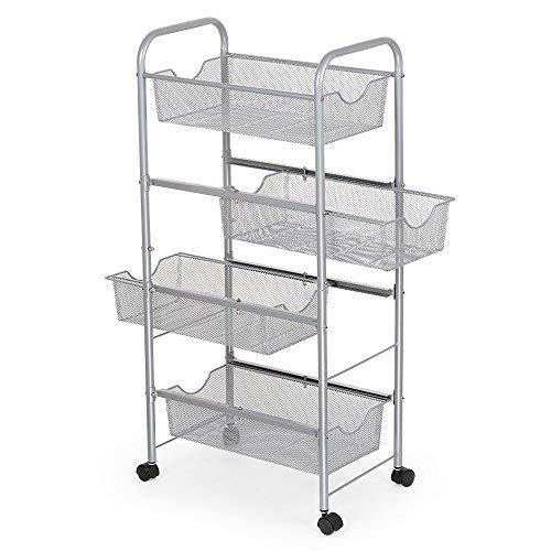 Open Wire Cart (NEX Storage Cart Organizer with Drawers Basket Wheels Durable Mesh Wire Rolling Cart for Home Kitchen Bathroom Laundry Storage)