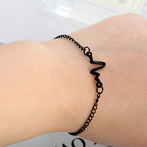 98fe8cb83e Amazon.com : YouCY ECG Lightning Bracelet Couple Heartbeat Frequency  Bracelet Simple Wave ECG Heart Rate Lightning Bracelet Jewelry Xmas Gift  For Women Girl ...