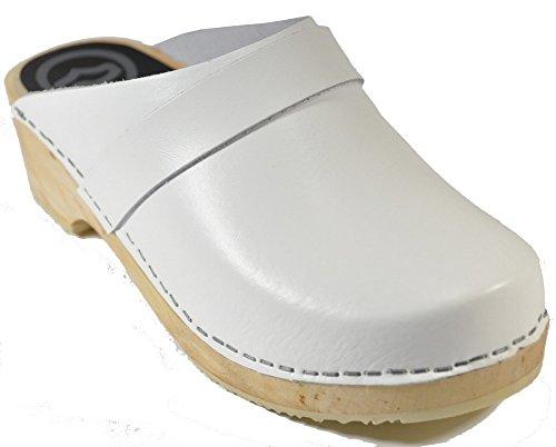 40 Blanc Sabots taille semelle 310 hêtre Toffeln en cuir z8qwq4F