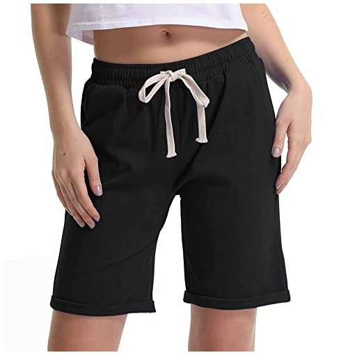 Gooket Womens Casual Elastic Waist Knee-Length Curling Bermuda Shorts