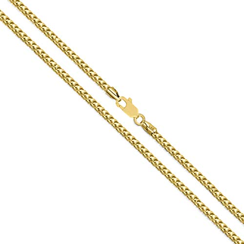 (Orostar 10K Yellow Gold 1.4MM Diamond Cut Square Franco Chain Necklace, 16