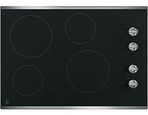 ": GE JP3030SJSS 30"" Electric Cooktop with 4 Cooking Elements in Stainless Steel"