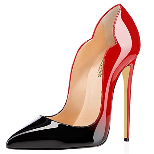 Modemoven Women's Sexy Point Toe High Heels,Patent Leather Pumps,Wedding Dress Shoes,Cute Evening Stilettos Red and Black - 6 M US (Womens Pumps Sexy)