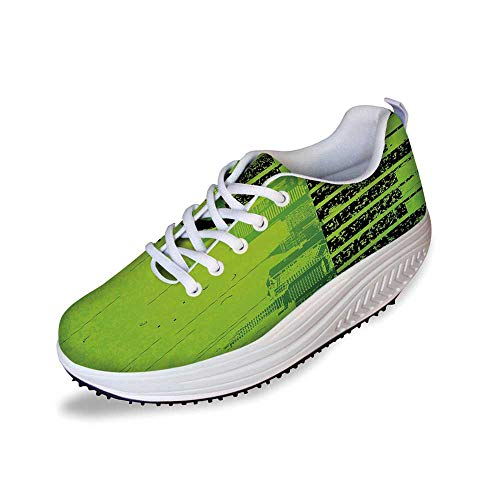Popstar Party Stylish Shake Shoes,Music in The City Theme Singer with Electric Guitar on Grunge Backdrop for Women,9