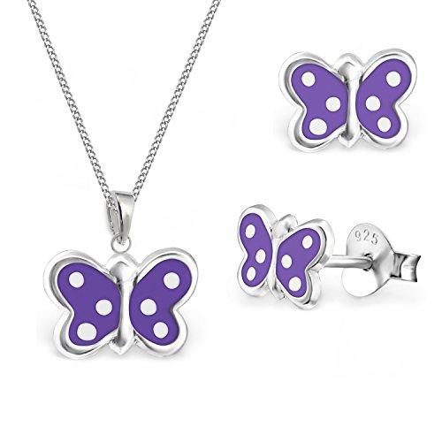 GH * Kids pequeños mariposa pendientes + colgante + 40cm Cadena Plata de ley 925niña niños Lila AM24