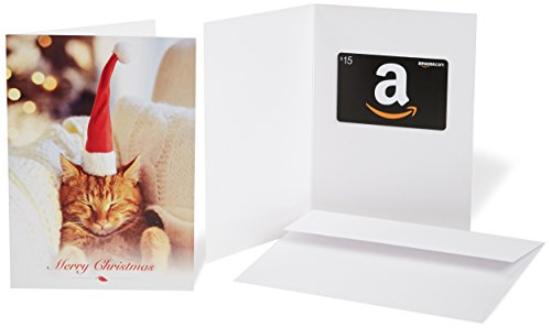Amazon.com $15 Gift Card in a Greeting Card (Christmas Cat Design) ()