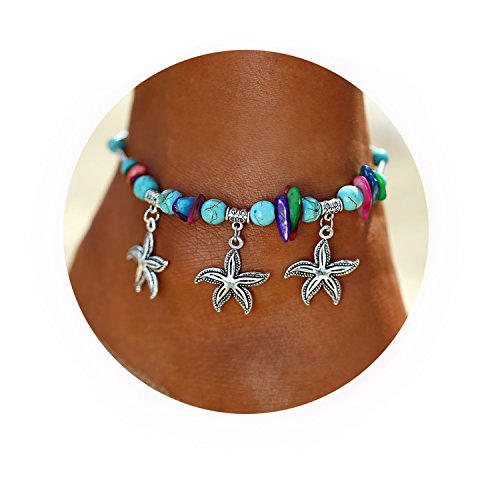Acrylic Link Bracelet - 17mile Blue Starfish Charm Turquoise Pearl Bead Link Anklet Adjustable Gifts Women Girls