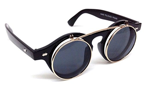 Black & Gold Django Flip up Steampunk - Cyberpunk Sunglasses