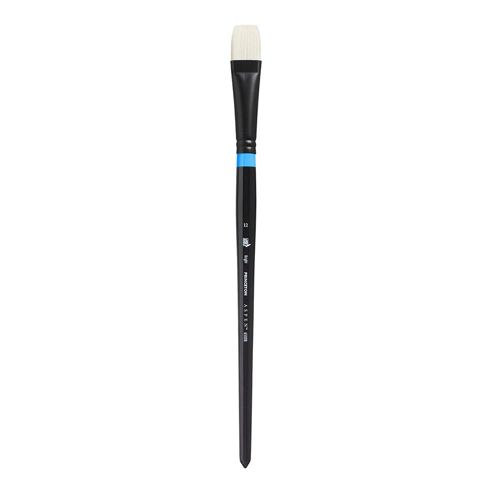 Princeton Artist Brush Aspen, Glare-Free Plein-Art Brush for Acrylic & Oil, Series 6500 Bright White Synthetic, Size 12 by Princeton Artist Brush