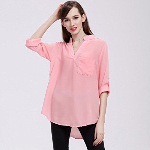 Profondo rigonfio con da Bluse da Camicie Scollo Casuale V e Rosa Blouse a Shirt T Lunghe Donna Donna Womens Scollo Shirt Tops V Vintage in a Maniche Chiffon a JiaMeng dTqz40wxz
