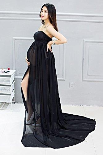 Maternidad Chiffon Fotografía Apoyos Vestido largo Split Vista delantera mujeres embarazadas con ropa interior 2pcs Set negro