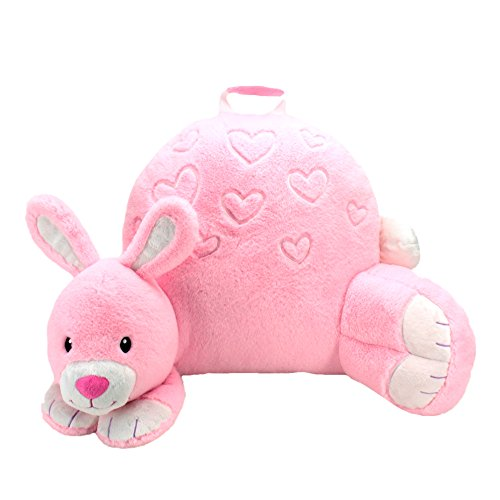 Sweet Seats Adorable Bunny Children's Plush Floor Cushion Velcro Storage Pocket on Back, Pink, 25