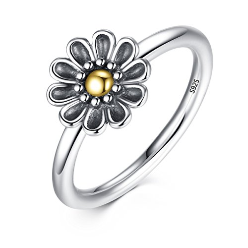 r Sunflower Rings Accessories Gift for Women Size 8 (Sterling Silver Delicate Flower Ring)