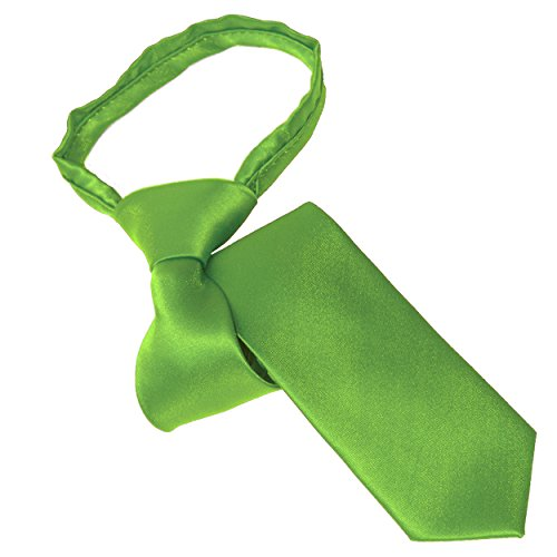 Green Boys Ties Polyester (Lime Green Youth Zipper Tie)