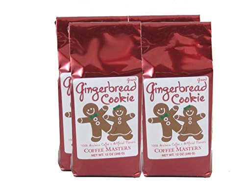 Gingerbread Cookie Coffee, Whole Bean (Case of Four 12 ounce Valve Bags) by Coffee Masters
