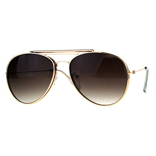 Mens Color Flip Up Lens Metal Rim Pilots Sunglasses Shiny Gold - Sunglasses Aviator Rim Gold