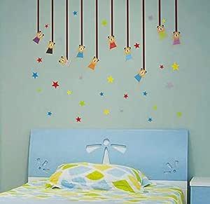 Cartoon Bear Star Wall Sticker Children Room Classroom Wallpaper Cartoon Cute Bear Star Bedroom Living Room Wall Sticker