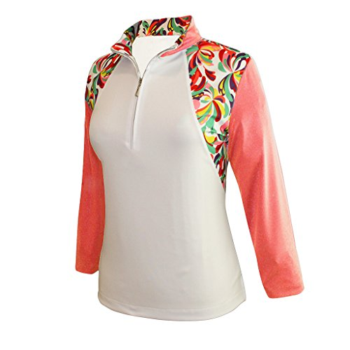 Monterey Club Ladies' Dry Swing Water Fountain Print Colorblock 3/4 Sleeve Shirt #2347 (White/Peach Pink, Large)