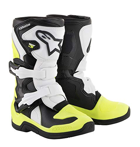 Alpinestars Youth Tech 3S Kids Boots-Black/White/Yellow Flo-K13