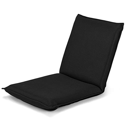 Giantex Adjustable Mesh Floor Sofa Chair, 6-Position Multiangle Padded Floor Chair, Cushioned Back Support Versatile, Video Game Chairs for Meditation Seminars Reading TV Watching or Gaming (Black) (Best Sofa For Watching Tv)
