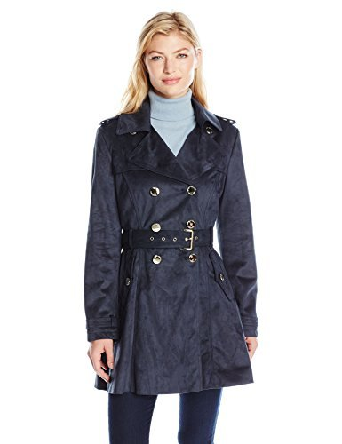 Jessica Simpson Women's Suede Belted Rain Trench Coat, Navy, L
