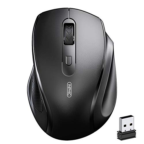 INPHIC Wireless Mouse for Laptop, Ergonomic Silent 2.4G Wireless Computer Mouse with USB Receiver 800/1200/1600 Adjustable DPI for PC Computer Desktop Macbook, Black
