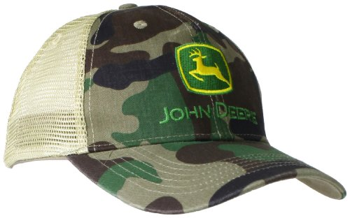 John Deere Embroidered Logo Mesh Back Baseball Hat - One Size - Men's - Camo