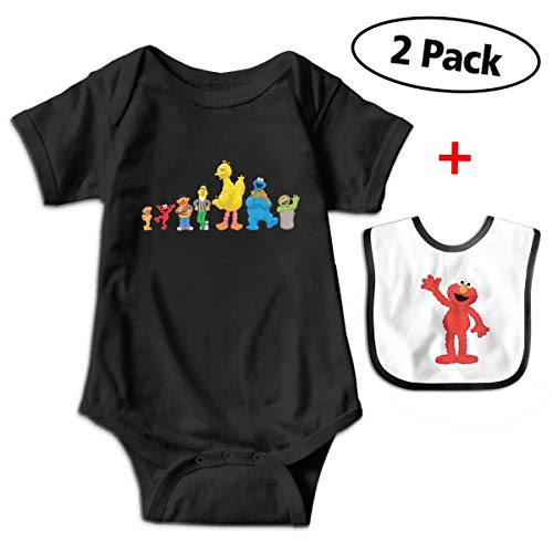 Bennett Elmo Baby Short-Sleeve Bodysuit Baby Onesie ONE-Piece Suit with Bib for New Born Boys & Girls (0-24 Months) -