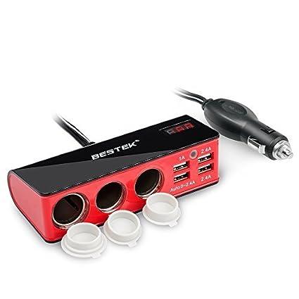 BESTEK Cargador Coche, Mechero Coche con 3 Encendedores Salidas Y 4 Puertos USB para Cargar (Rojo-3 Tomas-con Tapadera)
