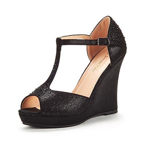 (DREAM PAIRS Women's Angeline-01 Black Suede Platform Wedge Sandals Peep Toe Wedge Pumps Size 8.5 M US)