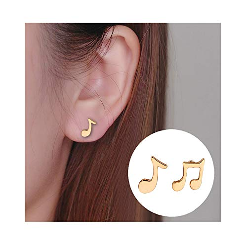 Dwcly Three Tone Tiny Charm Music Note Symbol Stud Earring Fashion Ear Jewelry for Music Lover Musician ()