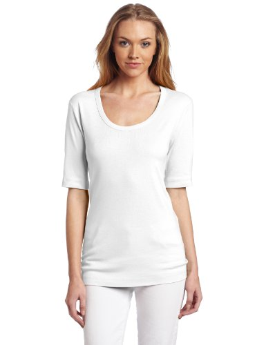 Three Dots Red Women's Half Sleeve Scoop Neck Top, White, X-Small