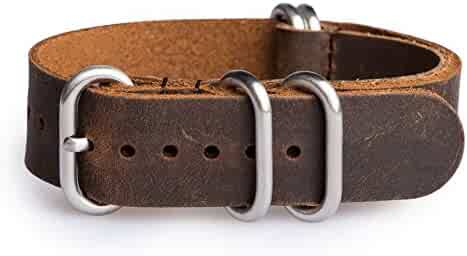 OhFlash 22mm [Rough Vintage Esspresso Leather] Zulu Leather G10 Nato Militaty Watch Strap Band