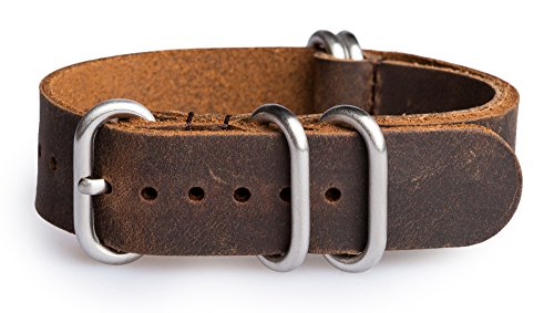 OhFlash 22mm [Rough Vintage Esspresso Leather] Zulu Leather G10 Nato Militaty Watch Strap Band