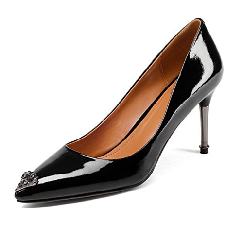 Spring New Women Ladies Patent Leather Pointed High Heels Female Rhinestones Shoes Pumps High Heel Party Office Work Court Shoes Black cMKLnltAd