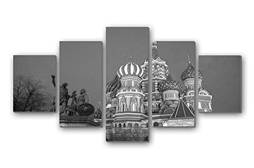 GLITZFAS PRINTS 5 Panel Wall Art Painting - Chisinau Capital of Moldova Botanica Sector - Canvas Stretched with Wooden Frame for Home Decor (12