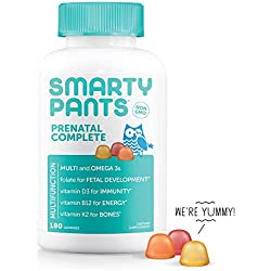 SmartyPants Prenatal Complete Daily Gummy Vitamins: Gluten Free, Multivitamin, Folate (Methylfolate), Vitamin K2, Vitamin D3, Methyl B12, Biotin, Omega 3 DHA/EPA Fish Oil, 180 count (30 Day Supply)