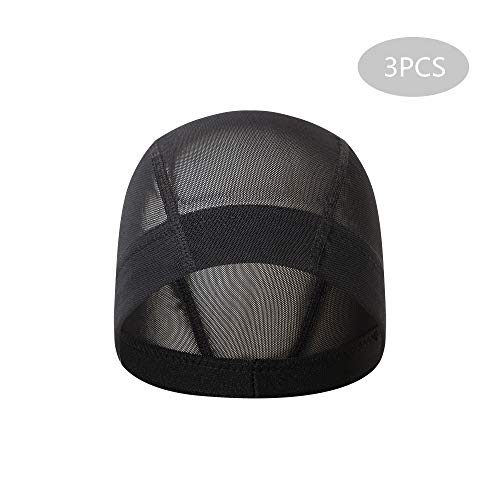 (Beauty7 3 Pack Black Stretch Spandex Mesh Net Wig Dome Cap Fishnet Extra Elastic Wide Band Women Men Kids Costume Weaving Hair Hairnets Anti-Slip Durable Breathable Closed End Wigs Making)