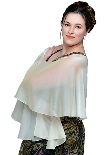 LENA MORO - FLUTTERING SCARVES - Champagne Two Tone Poly Chiffon - Sheer Wedding Evening (Lena Champagne)
