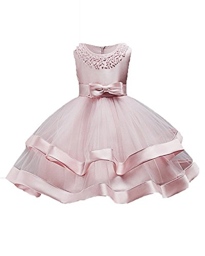 Beaded Embroidered Suit - Toddler Girl Dresses 5T 4T Pink Prom Bridesmaid Flower Dress for Girl 6 Years Old Sleeveless Lace Ruffle Tutu Dress for Kids 3-5T with Pearls Beaded Wedding Birthday Party Dress Size 3-5 (Pink 120)