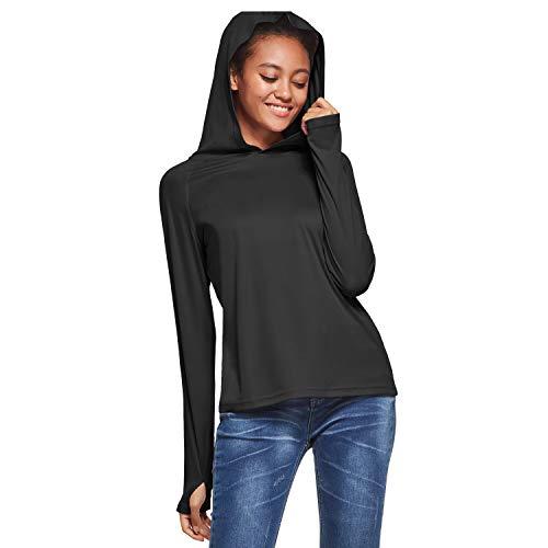 Ogeenier UPF 50+ T-shirt met lange mouwen, uv-bescherming tegen de zon, sport, hardlopen, golffietsen, hoodie met…