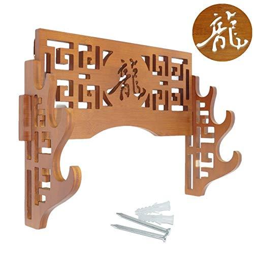 FOXSMZZ Bamboo Sword Dragon Frame Wall Mounted Samurai Sword Japanese Style Samurai Sword Display Rack Hanger 3 Layers ()