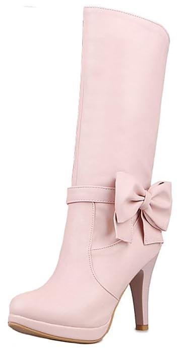 Women's Elegant Bowknot Round Toe Pointy High Heel Platform Slip on Mid Calf Boots