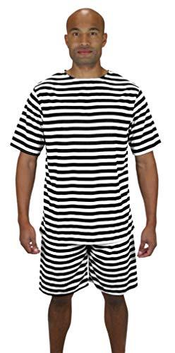 Historical Emporium Men's 1900s Striped Bathing Suit S Black/White