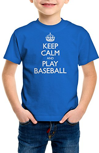 ShirtLoco Boys Keep Calm And Play Baseball Youth T-Shirt, Royal Blue Medium