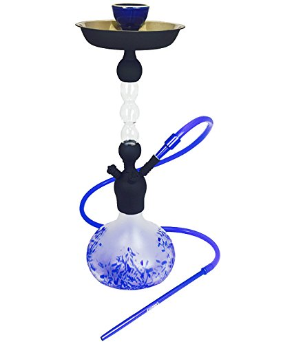 "VAPOR HOOKAHS TASMANIAN 24"" COMPLETE HOOKAH SET: Portable Modern hookahs with multi hose capability from a Single Hose shisha pipe to 4 Hose narguile pipes (Blue Hookah)"